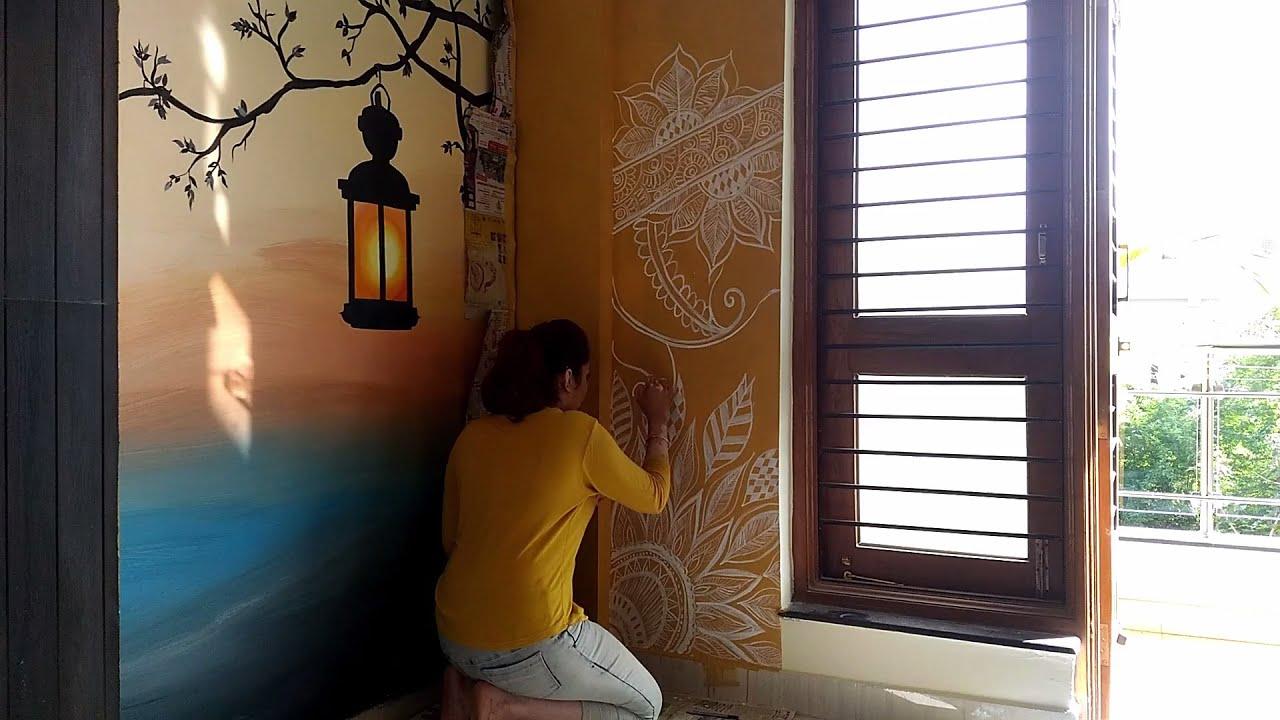 Free Hand Painting Mehendi Design On Wall Henna Wall Painting Easy Wall Art Diy Youtube