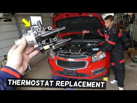 CHEVROLET CRUZE THERMOSTAT AND THERMOSTAT HOUSING REPLACEMENT. CHEVY SONIC THERMOSTAT HOUSING