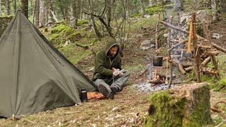 4 Days Solo Bushcraft, Canvas Lavvu tent, Carving Spoon and Frame Saw, Cooking, Pot hanger...