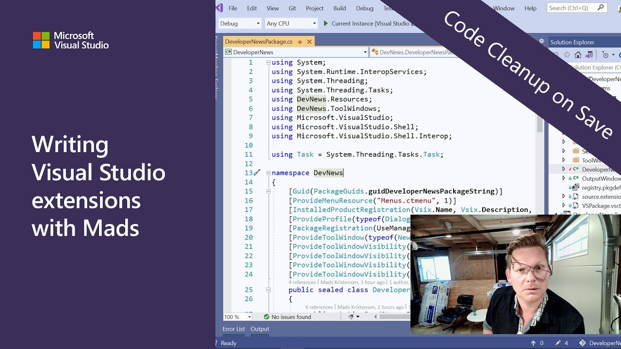 Writing Visual Studio Extensions with Mads - Episode 2: Code Cleanup on Save