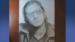 How to draw a realistic face. Bono U2