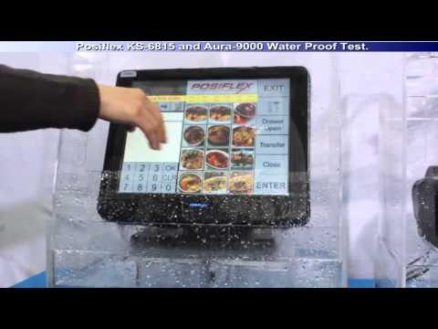 Тест на водостойкость терминала Posiflex KS 6915 и принтера чеков Aura 9000.