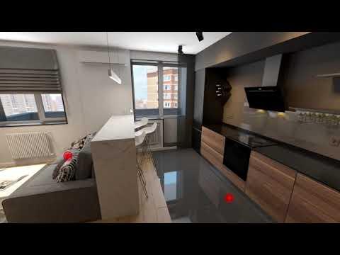 Дизайн квартиры 40м2 в Сургуте, в современном стиле. Адрес - ЖК Уютный, ул. Семёна Билецкого 4