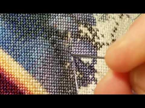 Cross stitching 1 over 1 HAED Dragon Kin #3 Stitch with me