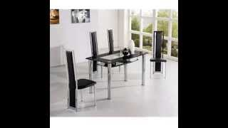 COMPACT SMALL GLASS DINING TABLE AND 4 CHAIRS