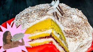 Fresca e Golosa Torta di Pan di Spagna con una delicata farcitura a...