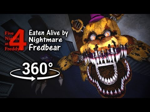 360°| Eaten Alive by Nightmare Fredbear - Five Nights at Freddy's 4 [SFM] (VR Compatible)