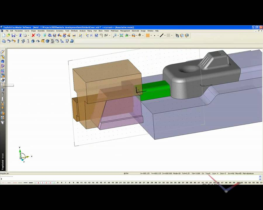 Topsolid Mold Add Back Lock And Angle Pin Youtube