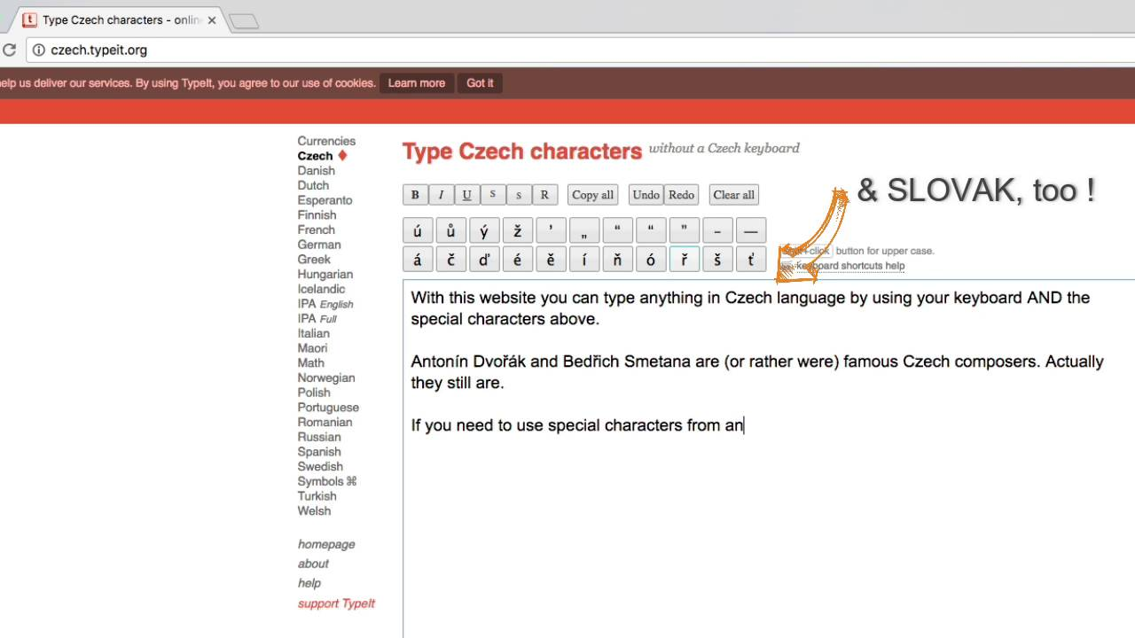 How 2 Type Special Czech Slovak Characters On Line