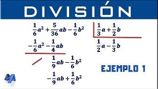 División de polinomios con fracciones | Ejemplo 1