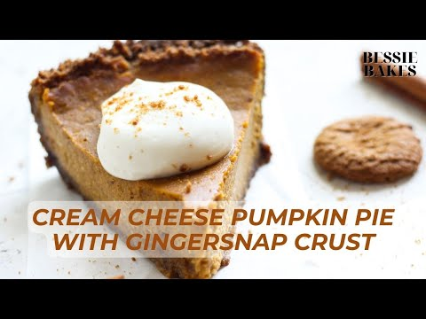 CREAM CHEESE Pumpkin Pie with Gingersnap Crust is SO easy, creamy, & DELICIOUS!