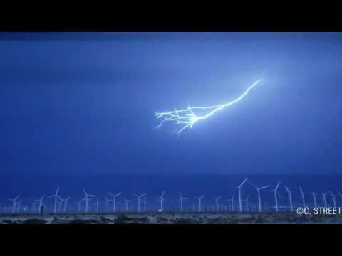 Lightening Storm Over Palm Springs Wind Farm.