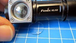 Стекло 15 мм для фонарика Fenix HL50