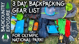 3 Day Backpacking Gear List For Olympic National Park