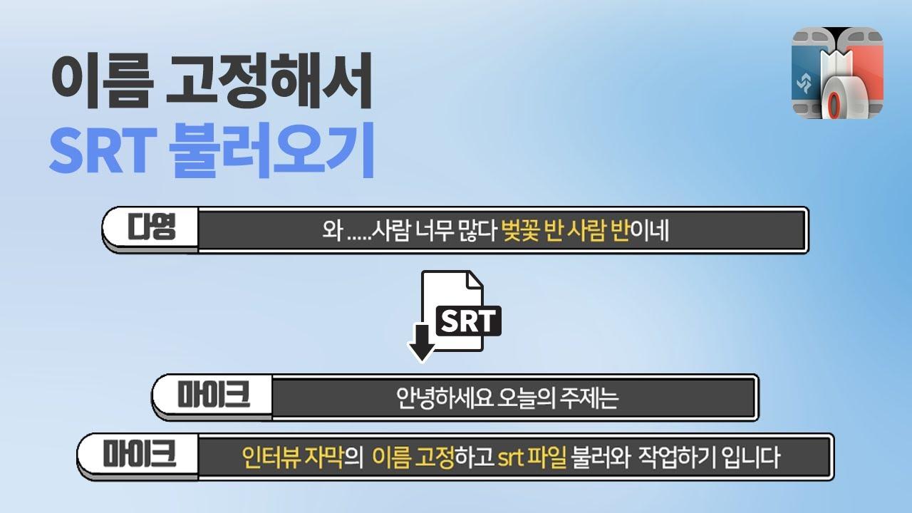 [뱁믹스] 인터뷰 자막 이름 고정하고 SRT 파일 불러와 효율적으로 작업하기