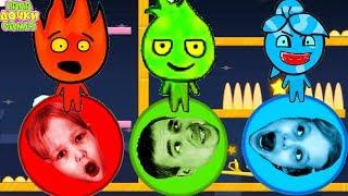 ПРИКЛЮЧЕНИЯ ОГОНЬ и ВОДА СМЕШНЫЕ ШАРИКИ #3. Игра на троих. УБЕЖАЛИ от ЗЛЫХ СОСУЛЕК. Видео для детей