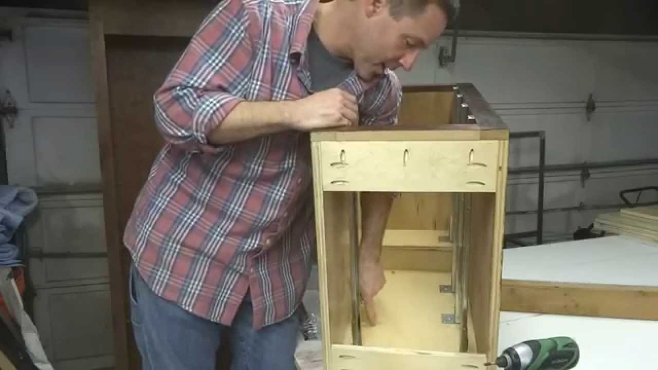 how to build your own kitchen cabinets part 6d installing how to build your own kitchen cabinets part 6d installing drawer slides youtube