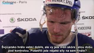 Gabriel Landeskog po zápase Švýcarsko - Švédsko 1:3