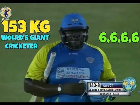 153 KG 6'5 Tall Giant Cricketer Hitting Huge Sixes In CPL 2017 - Rakheem Cornwall - Beast Power