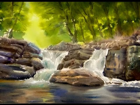 Watercolor Painting The Forest Waterfall Youtube