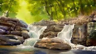Watercolor Painting The Forest Waterfall