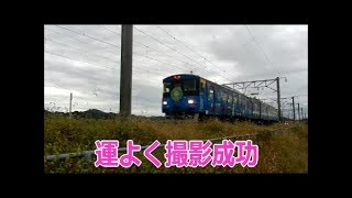 梁川駅でラッピング電車を運よく撮影