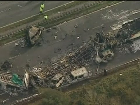 M5 CRASH AERIALS: The carnage seen from the sky