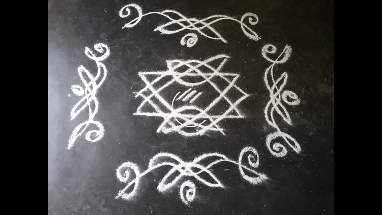 Black and white rangoli l rangoli with out dots l simple and easy rangoli rangoli with side borders