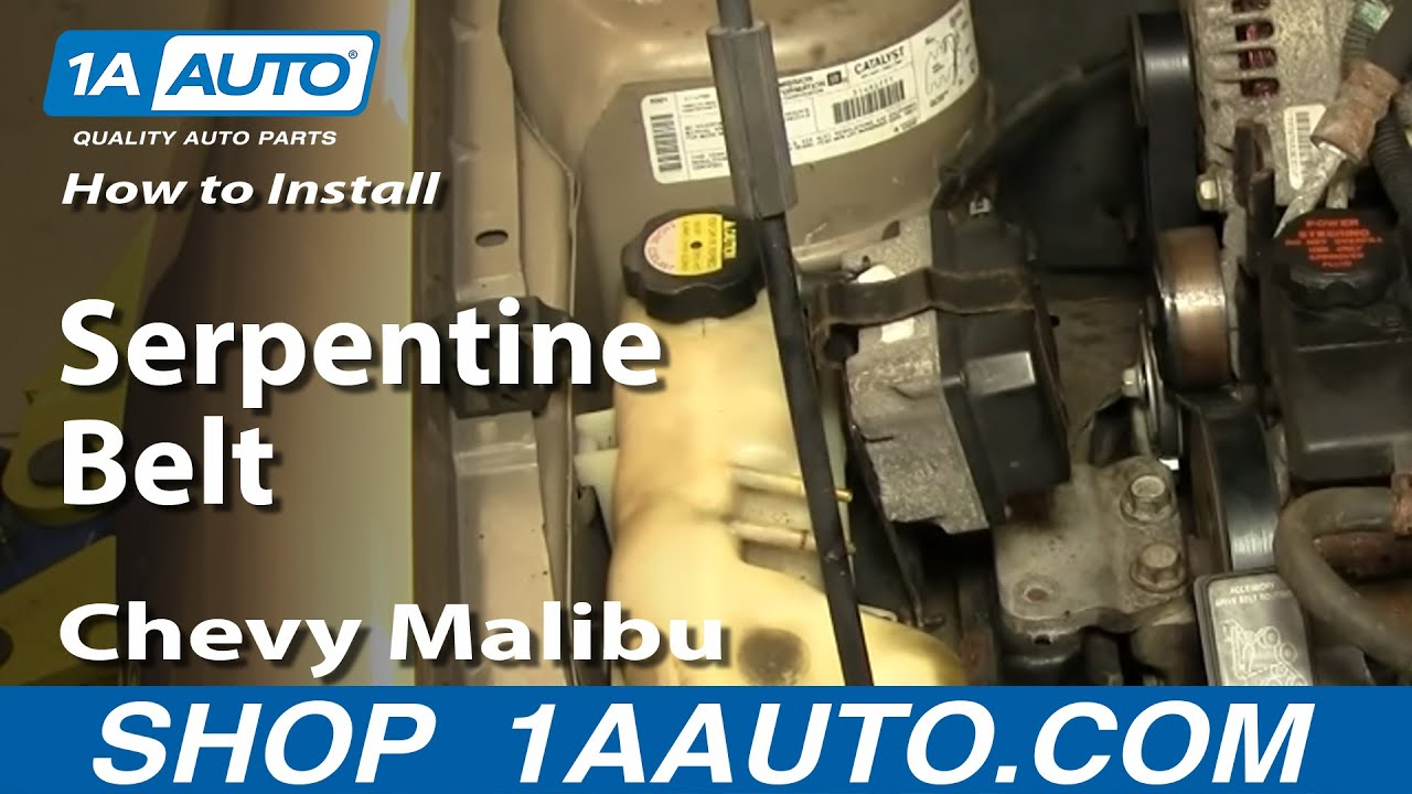 How To Install Replace Serpentine Belt Chevy Malibu 97-03 1AAuto.com  Malibu Ac Wiring Diagram on 2003 taurus ac wiring diagram, 2003 trailblazer ac wiring diagram, 2003 mustang ac wiring diagram, 2003 tahoe ac wiring diagram,