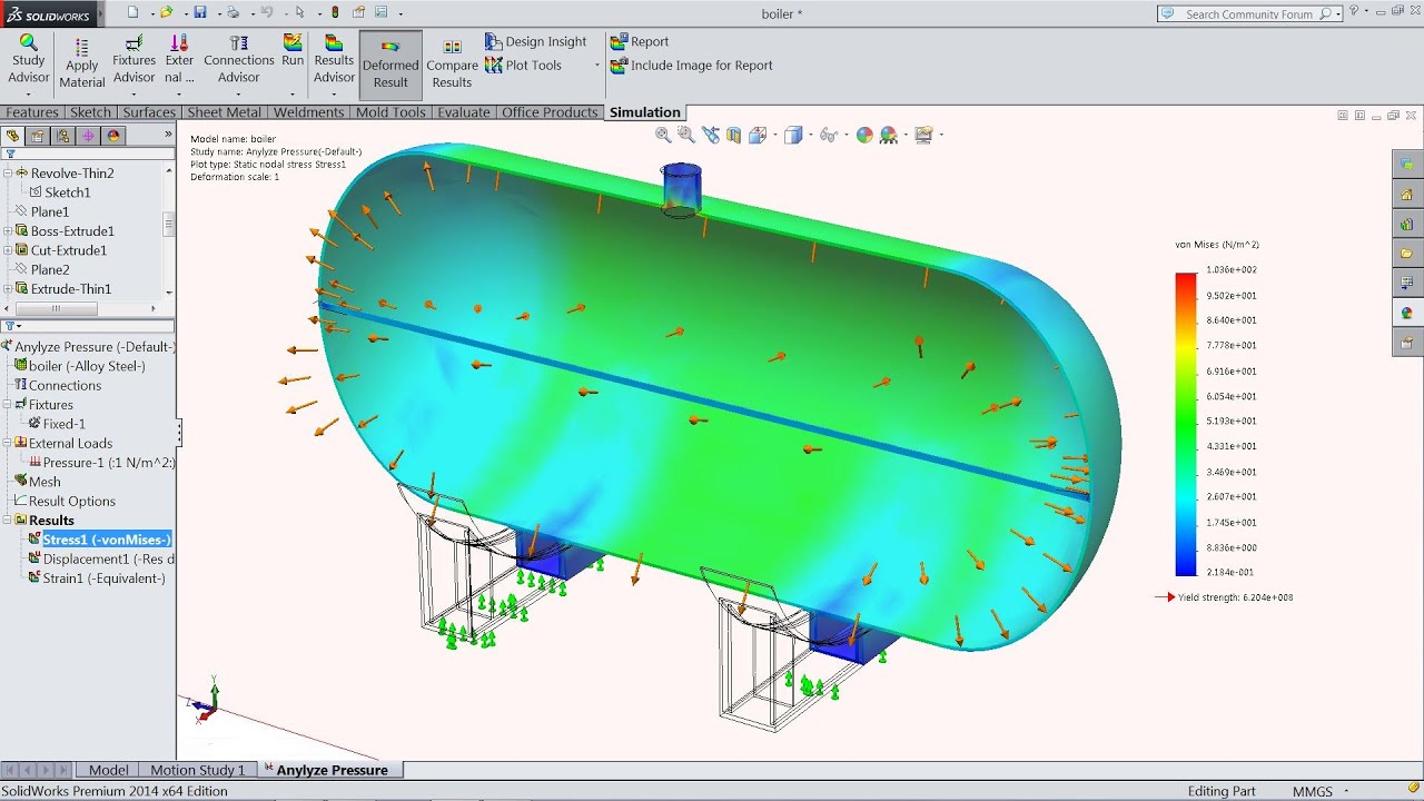 Solidworks Simulation tutorial | Analyze Tank Pressure in Solidworks