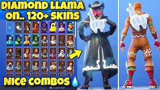 "NEW DIAMOND ""CRYSTAL LLAMA"" BACK BLING Showcased With 120+ SKINS! Fortnite Battle Royale"