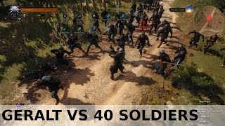Witcher 3 - Geralt vs 40 red skull soldiers (lvl 54-55)