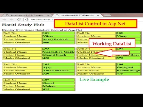 How To Use DataList Control In Asp.Net C#   Hindi   Learn Asp.Net