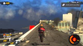 Motor Storm Apocalypse Multiplayer Demo Motorcycle gameplay The Mile High Club SKYLINE Race