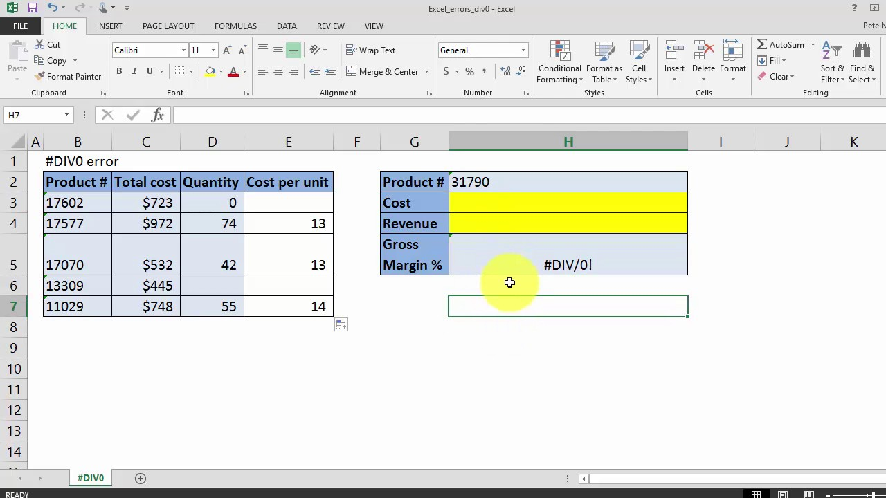 How To remove the DIV/20 Error in Excel