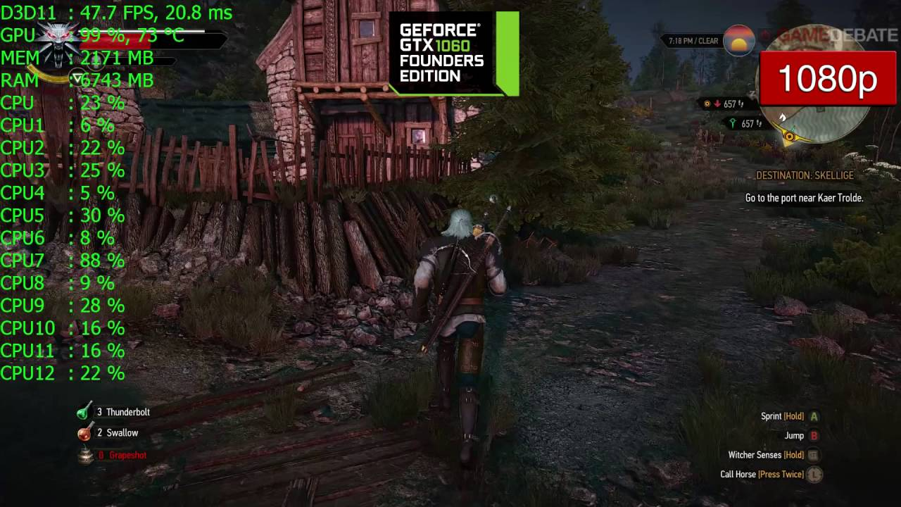 The Witcher 3 GTX 1060 Frame Rate Benchmark Performance - Ultra Graphics  1080p