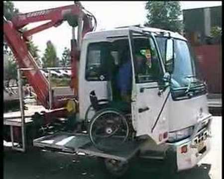 Wheelchair Lift For Truck Fitted Lounge Chair Towels Driver Shows How Its Done - Youtube