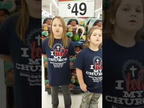 Girls singing Gospel in WalMart
