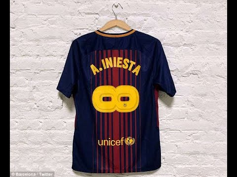 Barcelona Unveil Iniesta Shirt As No 8 Is Flipped To Form Infinity