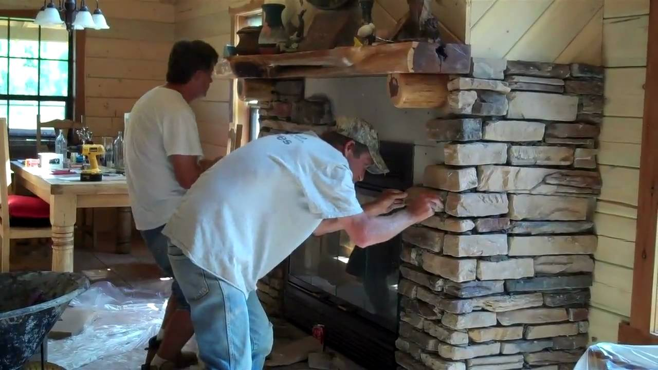 Rock Installation on Fireplace by Gary Lynn Texas own Rock