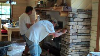 Rock Installation On Fireplace By Gary + Lynn (texas' Own Rock Solid Team)