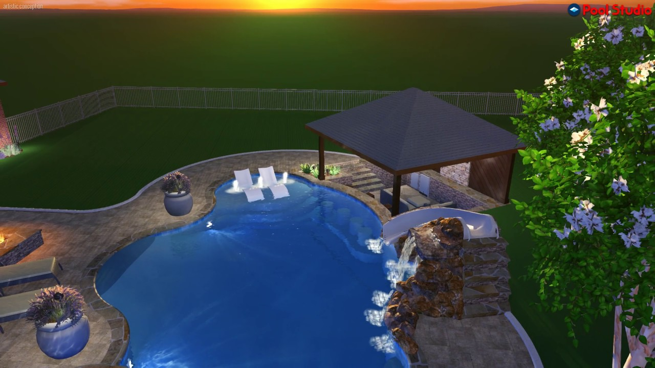Freeform Pool With Swim Up Bar Multiple Fire Pits Sunk In Living Area And Grotto Water Slide