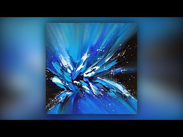 Easy Abstract Painting Techniques / Acrylics / Palette Knife / Blue / Demo #028