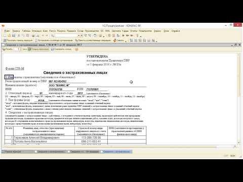 Сведения по форме СЗВ-М в 1С: Бухгалтерия 8.2