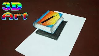 How to draw a 3D Book Step by Step - Easy Perspective Drawing | 3D Trick Art |