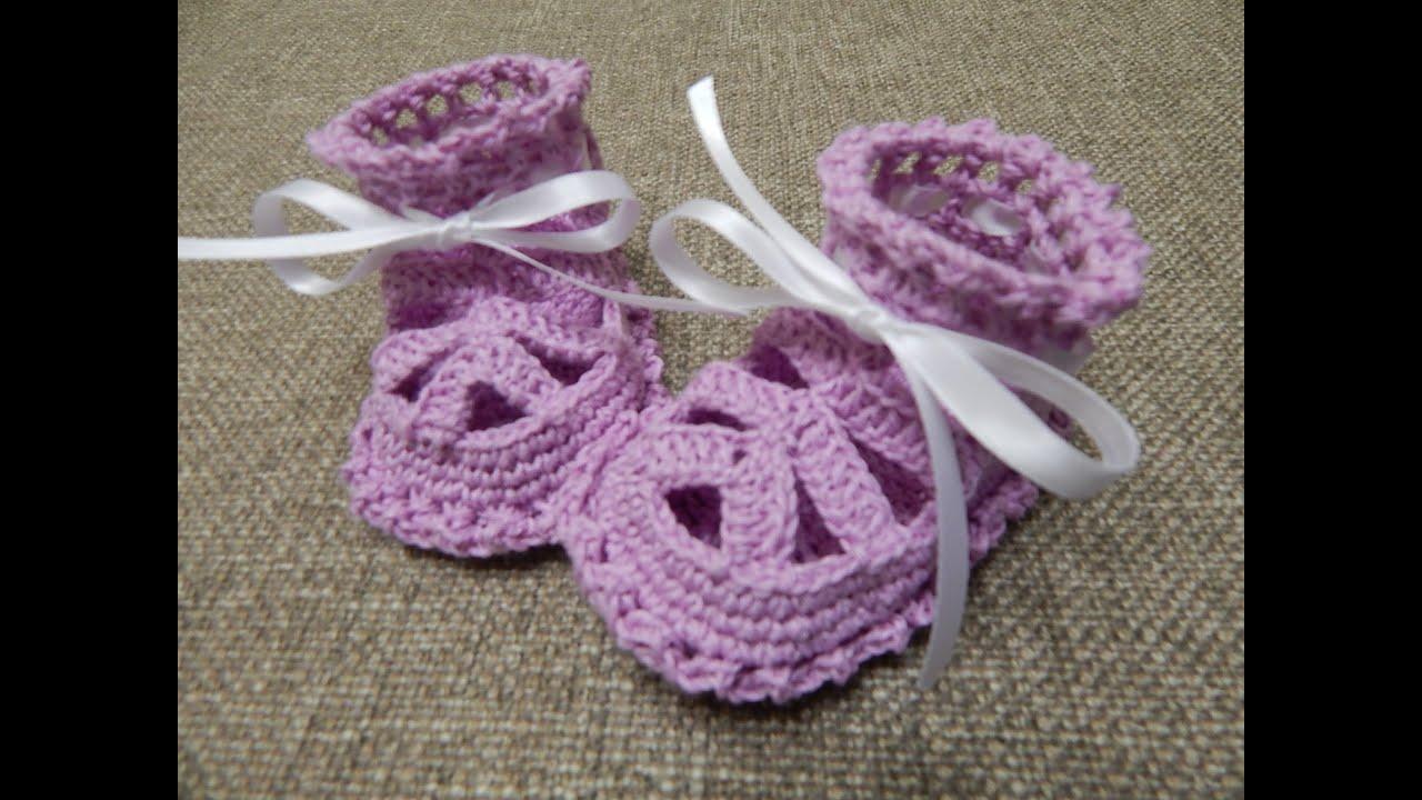 Crochet Tutorial Zapatitos Bebe : Zapatitos para Ni?a Crochet - YouTube