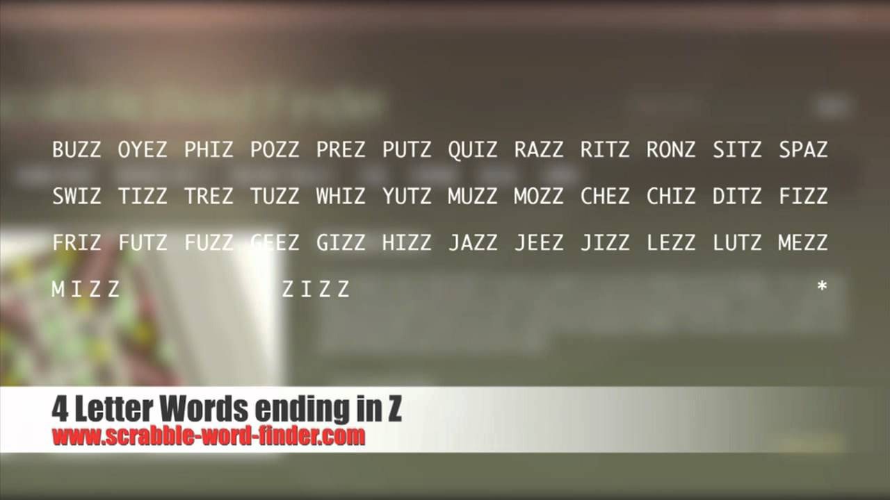4 letter word ending in z 4 letter words ending in z 20112