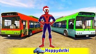 Человек паук катается на разноцветных автобусах,  машинки, мультики