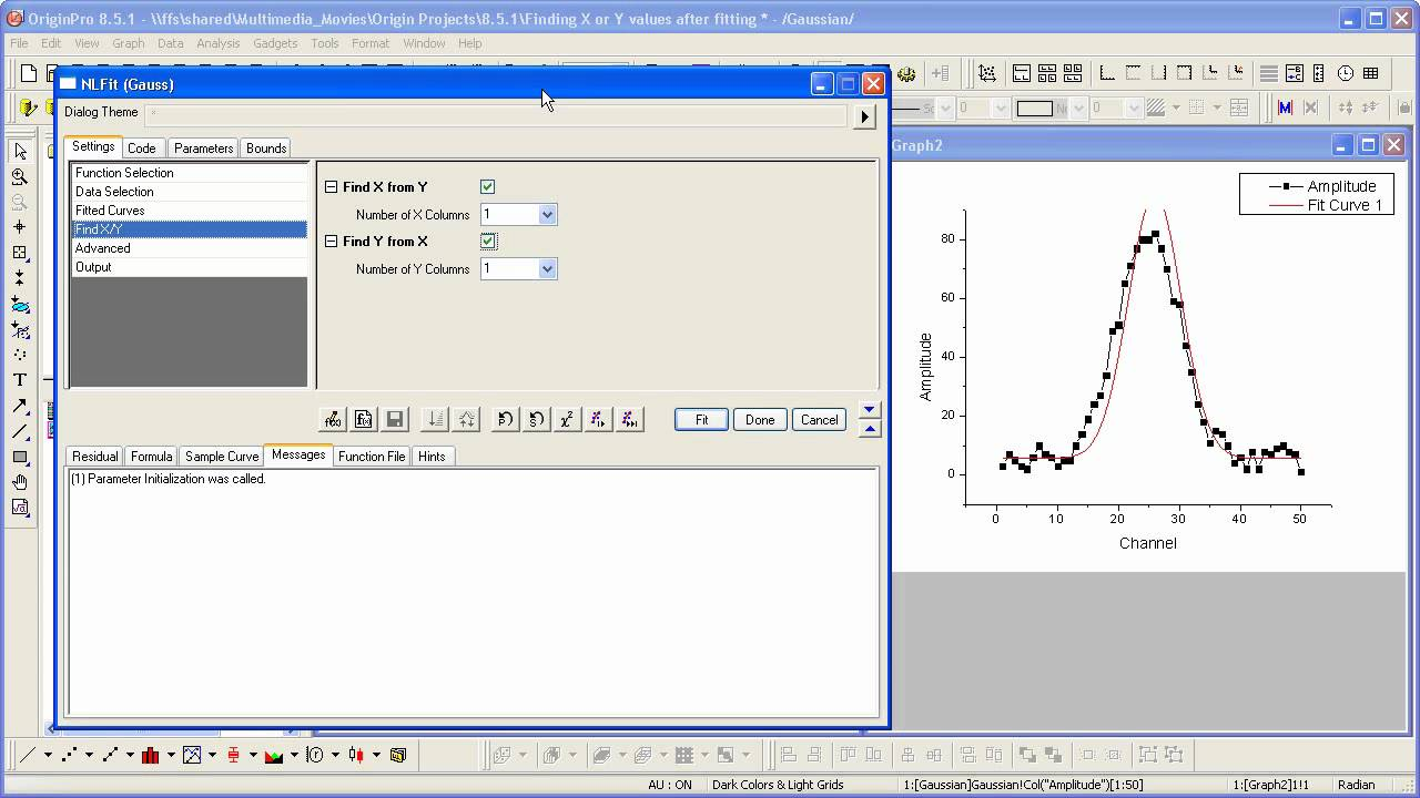 Curve Fitting: Origin 8 5 1: Finding X or Y after Fitting