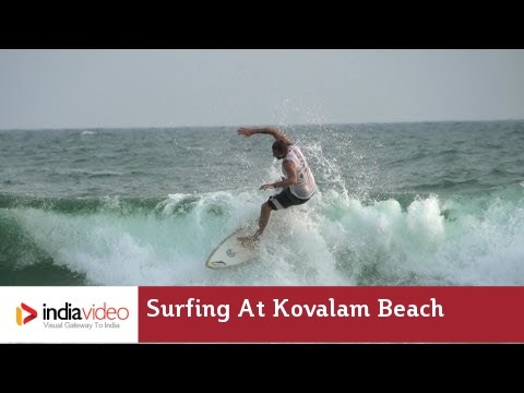 Surfing at Kovalam Beach